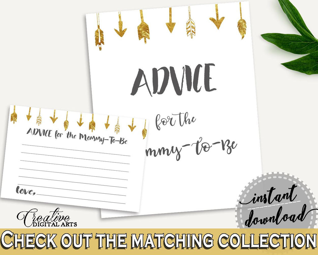 Advice Cards Baby Shower Advice Cards Gold Arrows Baby Shower Advice Cards Baby Shower Gold Arrows Advice Cards Gold White - I60OO - Digital Product