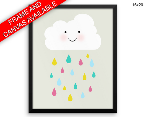 Cloud Drops Print, Beautiful Wall Art with Frame and Canvas options available Nursery Decor