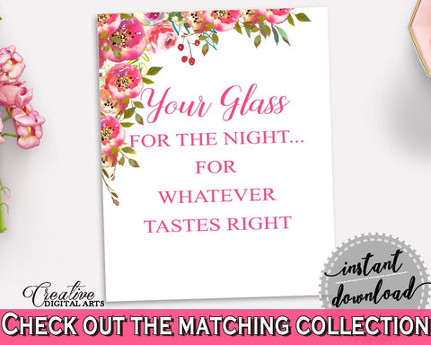 Your Glass For The Night Bridal Shower Your Glass For The Night Spring Flowers Bridal Shower Your Glass For The Night Bridal Shower UY5IG - Digital Product