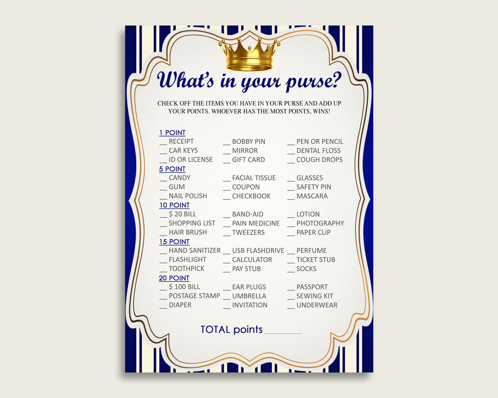 Royal Prince What's In Your Purse Game Printable, Blue Gold Whats In Your Purse, Boy Baby Shower Purse Game, Instant Download, rp001