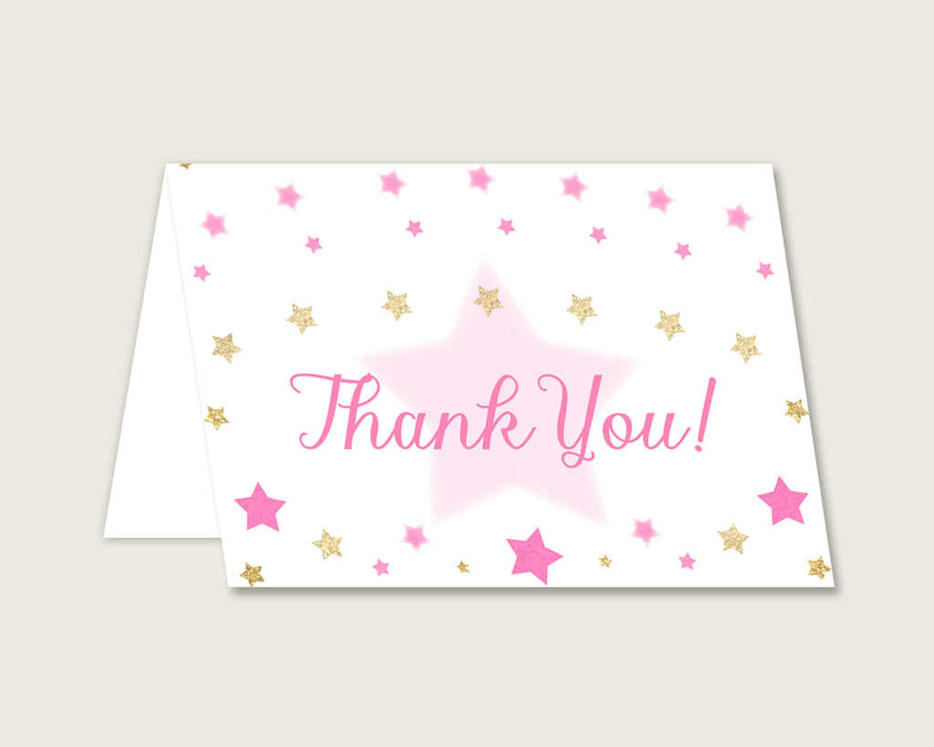 Pink Gold Thank You Cards Printable, Twinkle Star Baby Shower Thank You Notes, Girl Shower Thank You Folded, Instant Download, bsg01