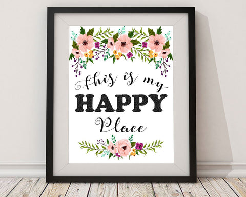 Wall Art Happy Place Digital Print Happy Place Poster Art Happy Place Wall Art Print Happy Place Home Art Happy Place Home Print Happy Place - Digital Download