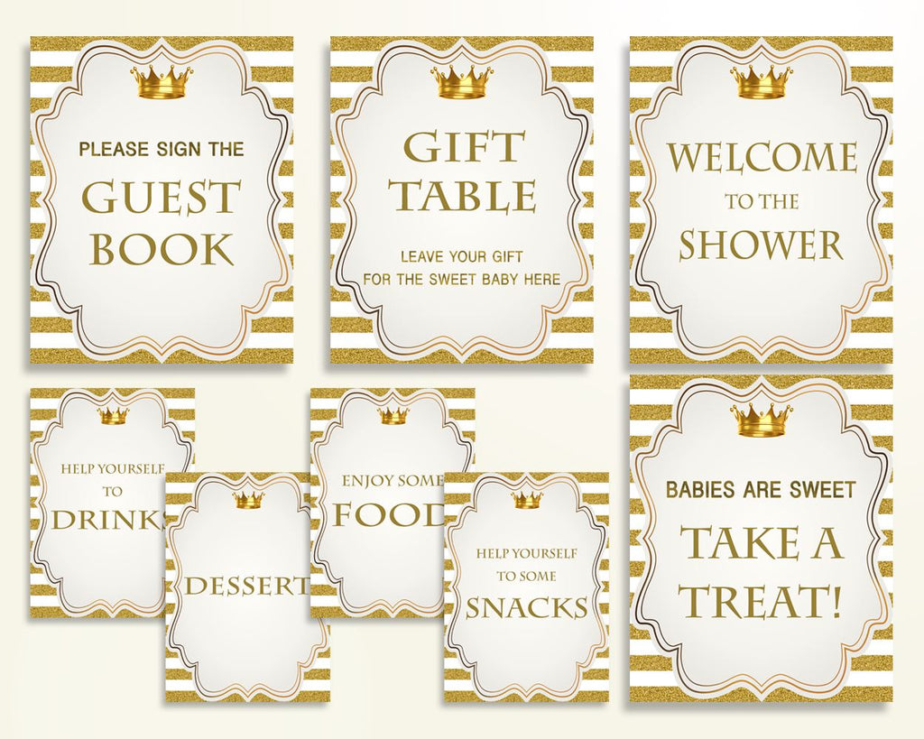 Table Signs Baby Shower Table Signs Royal Baby Shower Table Signs Gold White Baby Shower Gold Table Signs baby shower idea prints Y9MQF - Digital Product