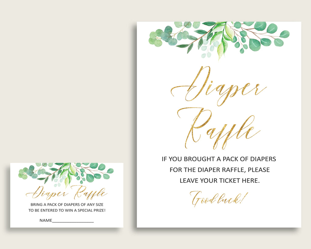 Greenery Baby Shower Diaper Raffle Tickets Game, Gender Neutral Green Gold Diaper Raffle Card Insert and Sign Printable, Instant Y8X33