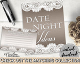 Brown And Silver Traditional Lace Bridal Shower Theme: Date Night Ideas - date idea notecards, rustic bridal, party ideas, prints - Z2DRE - Digital Product