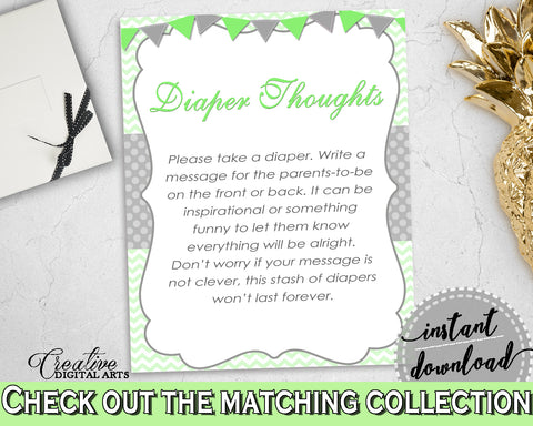 Baby shower DIAPER THOUGHTS game with chevron green theme printable, digital file Jpg Pdf, instant download - cgr01