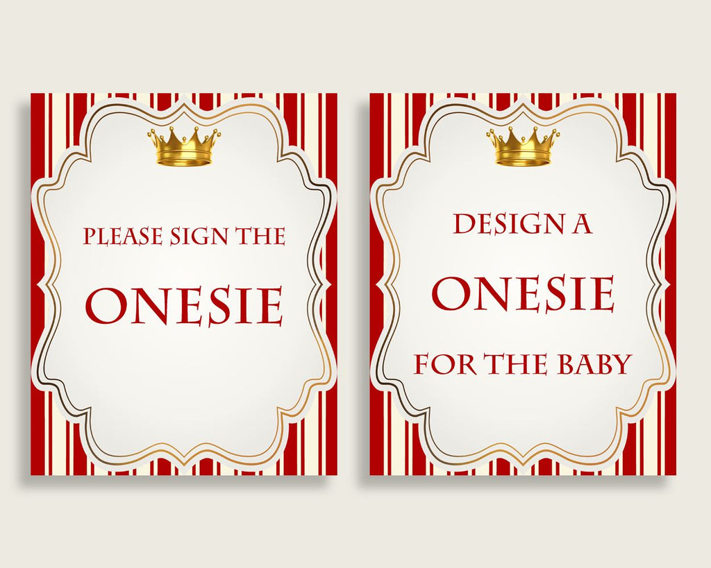 Red Gold Please Sign The Onesie Sign and Design A Onesie Sign Printables, Prince Boy Baby Shower Decor, Instant Download, Crown 92EDX