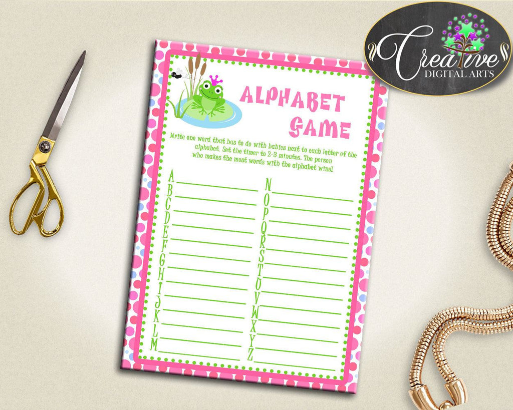Baby Shower Dots Green And Pink Words Game Smart Activity ALPHABET GAME, Party Supplies, Paper Supplies, Digital Download - bsf01 - Digital Product