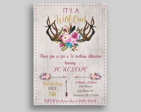 Wild One Birthday Invitation Wild One Birthday Party Invitation Wild One Birthday Party Wild One Invitation Girl antlers, bouquet V0J6X - Digital Product
