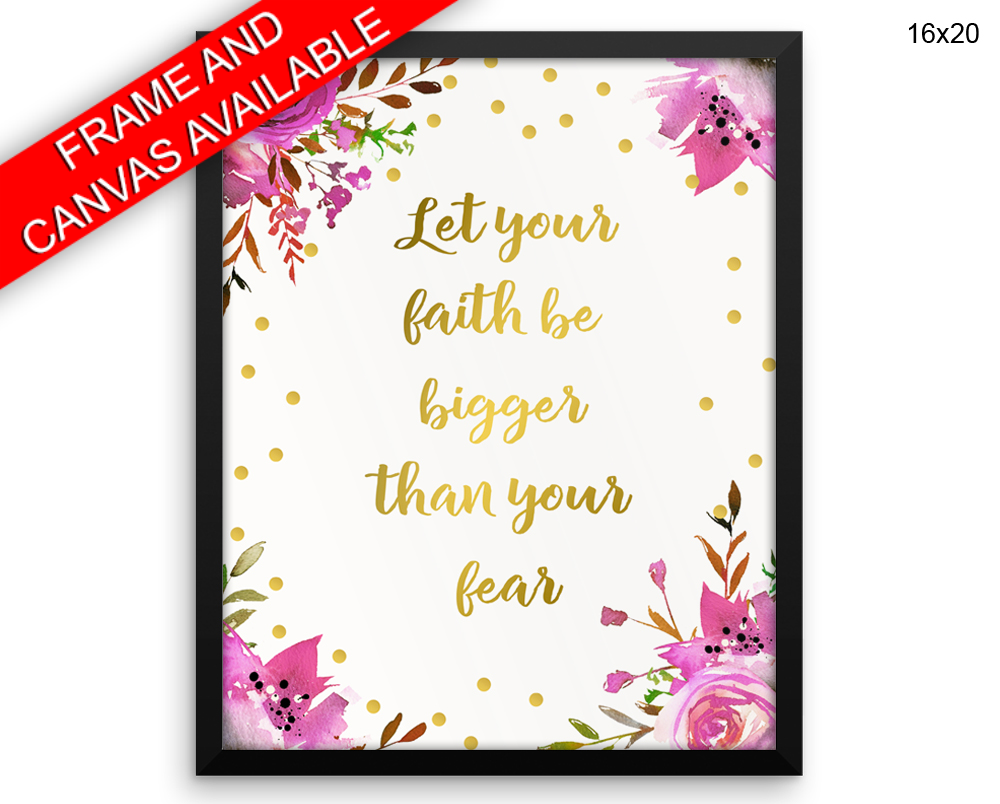 Faith Fear Print, Beautiful Wall Art with Frame and Canvas options available Encouraging Decor
