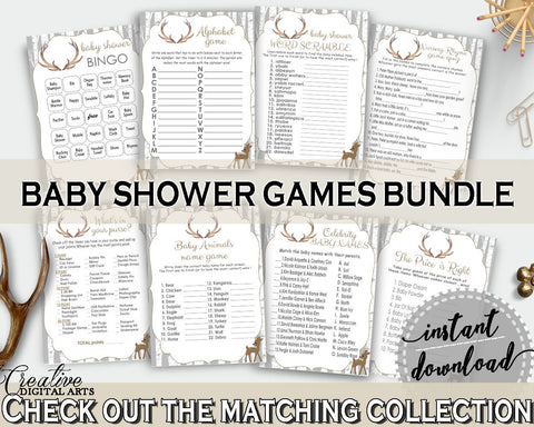 Games Baby Shower Games Deer Baby Shower Games Baby Shower Deer Games Gray Brown party organising, party organizing, party plan - Z20R3 - Digital Product