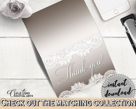 Thank You Card in Traditional Lace Bridal Shower Brown And Silver Theme, thank you note, vintage lace, bridal shower idea, prints - Z2DRE - Digital Product