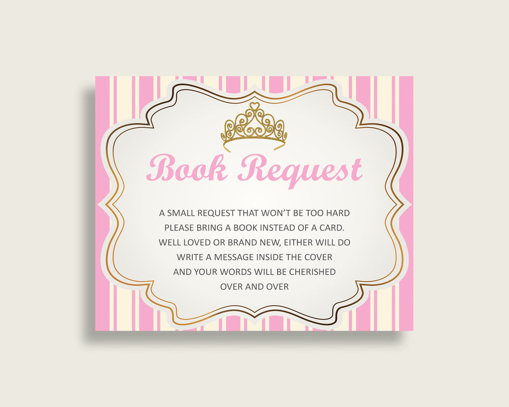 Royal Princess Baby Shower Bring A Book Insert Printable, Girl Pink Gold Book Request, Royal Princess Books For Baby, Book Instead Of rp002