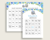 Elephant Blue Baby Shower Bingo Cards Printable, Blue Gray Baby Shower Boy, 60 Prefilled Bingo Game Cards, Cute Elephant Flowers ebl01