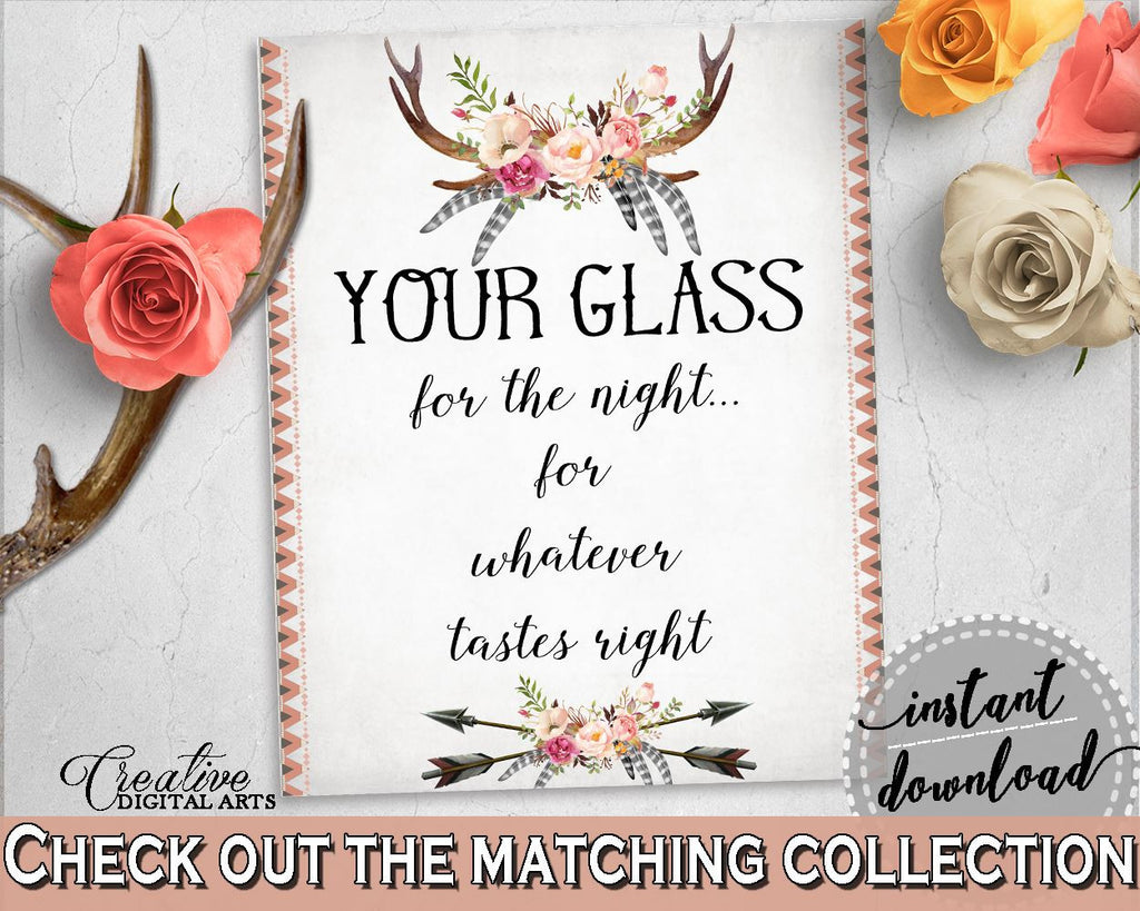 Antlers Flowers Bohemian Bridal Shower Your Glass For The Night Sign in Gray and Pink, tastes right, party décor, party ideas - MVR4R - Digital Product