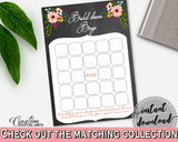 Bingo Gift Game in Chalkboard Flowers Bridal Shower Black And Pink Theme, bingo presents, black bridal shower, digital print, prints - RBZRX - Digital Product