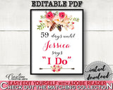 Bohemian Flowers Bridal Shower Days Until I Do in Pink And Red, wedding count down, floral boho, prints, digital print, party décor - 06D7T - Digital Product