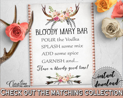 Bloody Mary Bar Sign in Antlers Flowers Bohemian Bridal Shower Gray and Pink Theme, vodka mix, boho floral, party plan, party stuff - MVR4R - Digital Product