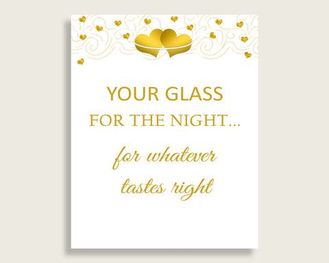 Your Glass For The Night Bridal Shower Your Glass For The Night Gold Hearts Bridal Shower Your Glass For The Night Bridal Shower Gold 6GQOT