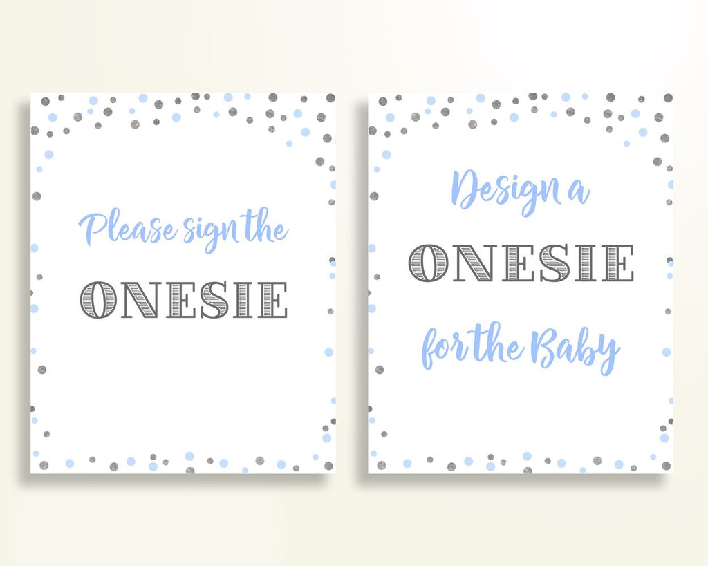 Sign The Onesie Baby Shower Design A Onesie Blue And Silver Baby Shower Sign The Onesie Blue Silver Baby Shower Blue And Silver Design OV5UG - Digital Product