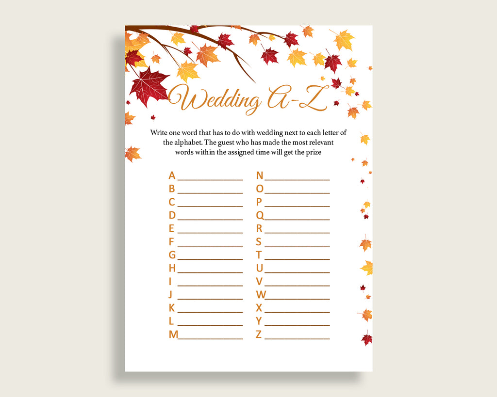 Wedding Game Bridal Shower Wedding Game Fall Bridal Shower Wedding Game Bridal Shower Autumn Wedding Game Brown Yellow printables YCZ2S