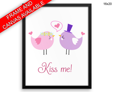 Kiss Me Birds Print, Beautiful Wall Art with Frame and Canvas options available Love Decor