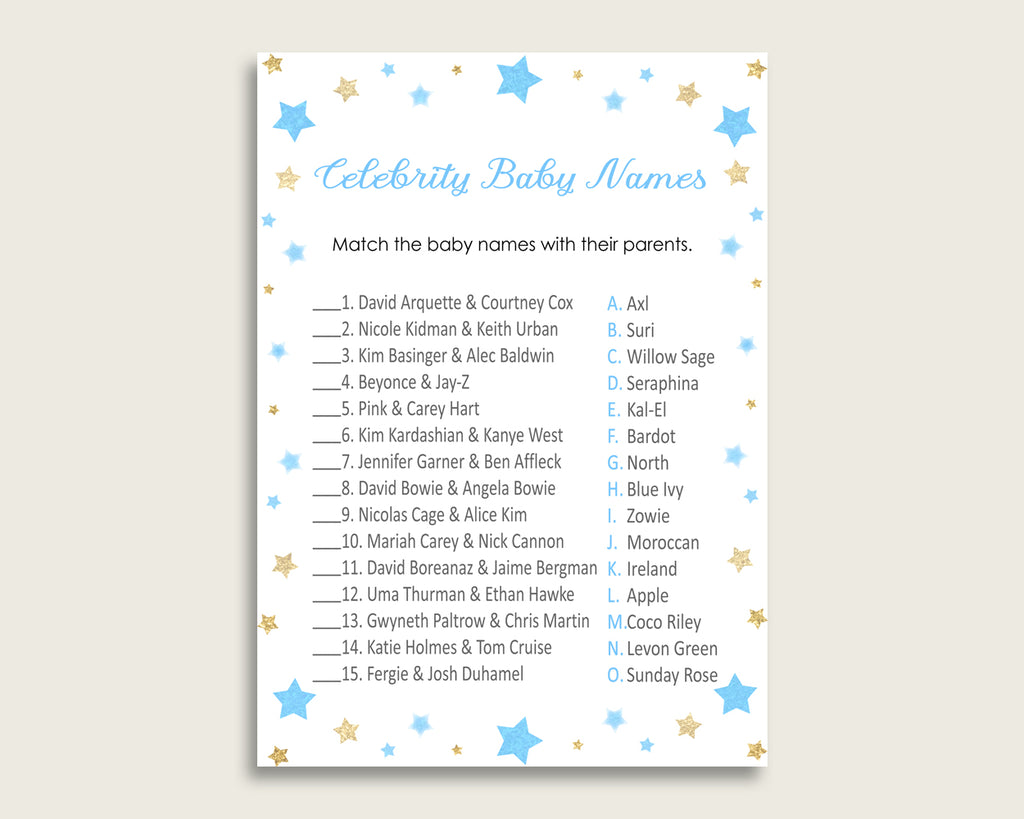 Blue Gold Celebrity Baby Names, Stars Baby Shower Boy Name Game Printable, Celebrity Match Game, Famous Babies Game, Celebrity Parents bsr01