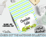 Baby shower PLACE CARDS or FOOD TENTS editable printable with green alligator and blue color theme for boy, instant download - ap002