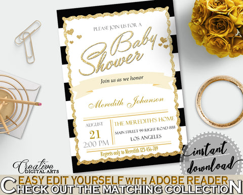 Baby Shower INVITATION editable Pdf with black white strips color theme, digital Jpg included, instant download - bs001