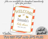 Baby Shower WELCOME sign editable with glitter gold and orange stripes theme printable, digital files, pdf jpg, instant download - bs003