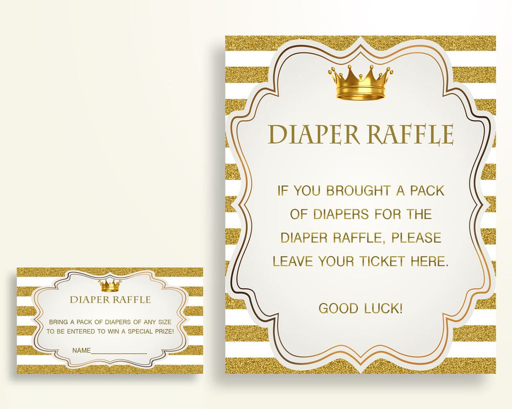 Diaper Raffle Baby Shower Diaper Raffle Royal Baby Shower Diaper Raffle Gold White Baby Shower Gold Diaper Raffle paper supplies Y9MQF - Digital Product