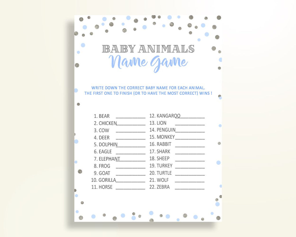 Baby Animal Names Baby Shower Baby Animal Names Blue And Silver Baby Shower Baby Animal Names Blue Silver Baby Shower Blue And Silver OV5UG - Digital Product