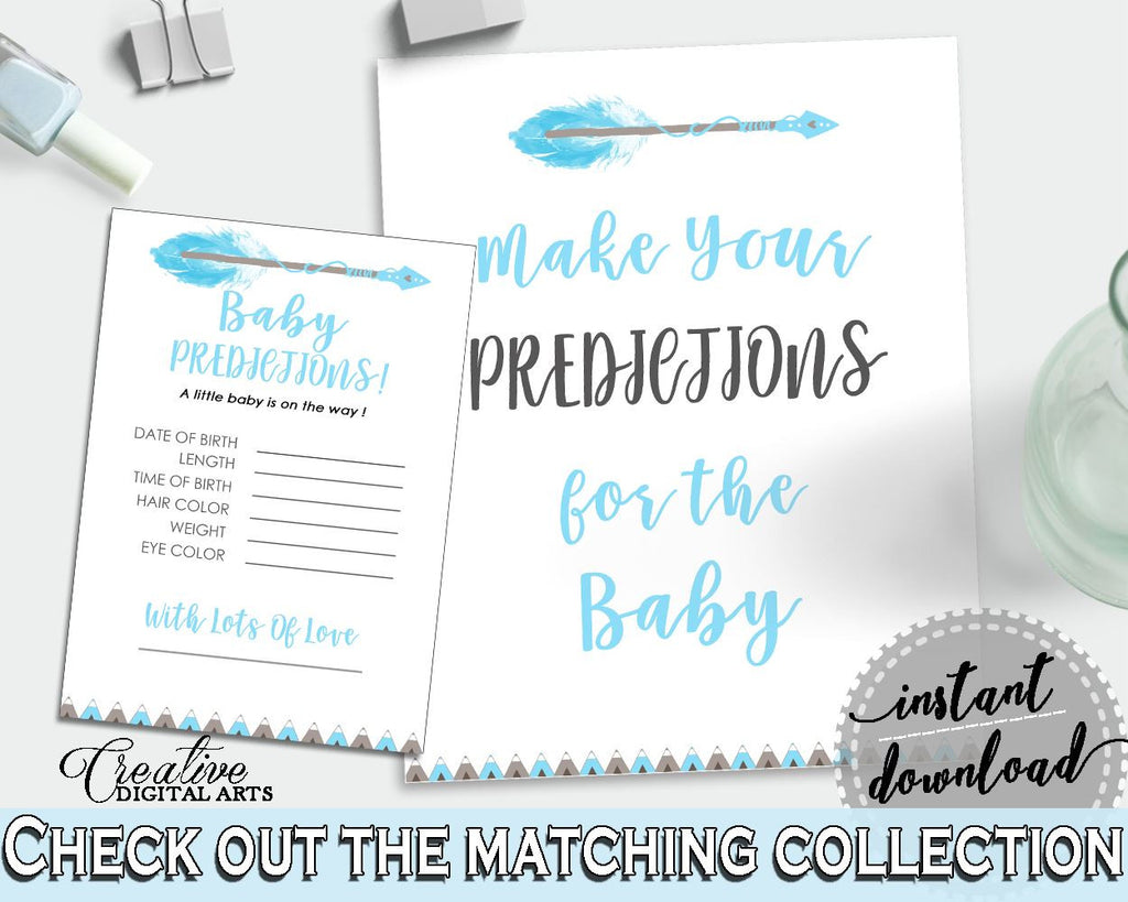 Baby Predictions Baby Shower Baby Predictions Aztec Baby Shower Baby Predictions Blue White Baby Shower Aztec Baby Predictions QAQ18 - Digital Product