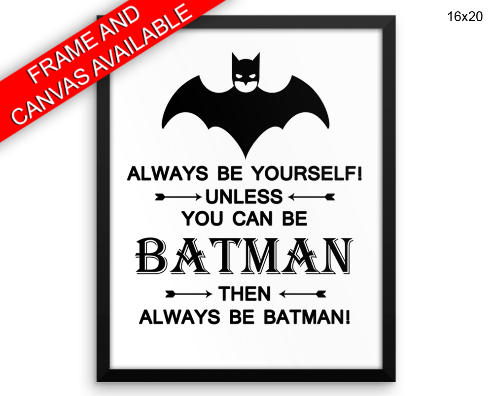 Batman Print, Beautiful Wall Art with Frame and Canvas options available Kids Decor