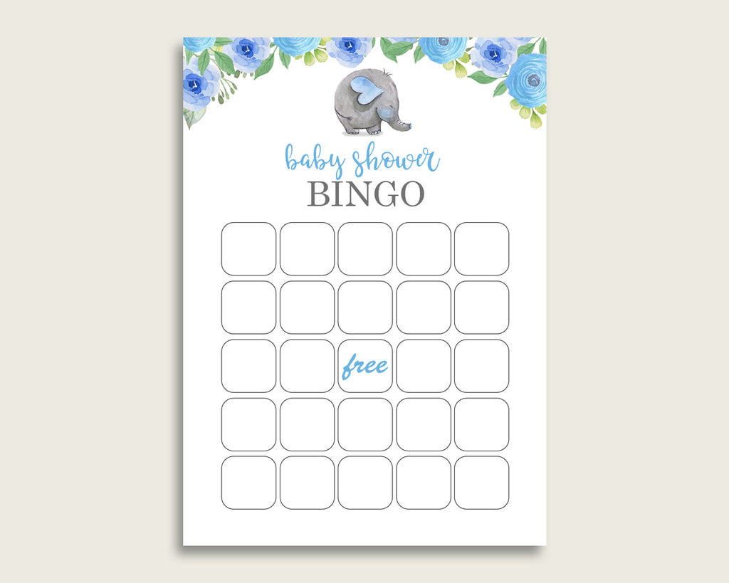 Blue Gray Baby Shower Bingo Blank Game Printable, Elephant Blue Baby Shower Boy Bingo Blank Cards, Bingo Gift Opening Game, Flowers ebl01