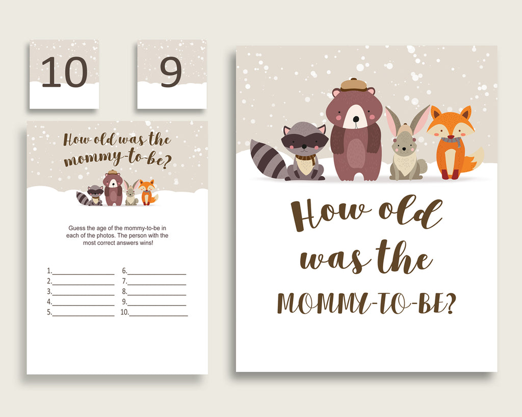 Beige Brown How Old Was The Mommy To Be, Gender Neutral Baby Shower Game Printable, Winter Woodland Guess Mommy's Age Game, Instant RM4SN