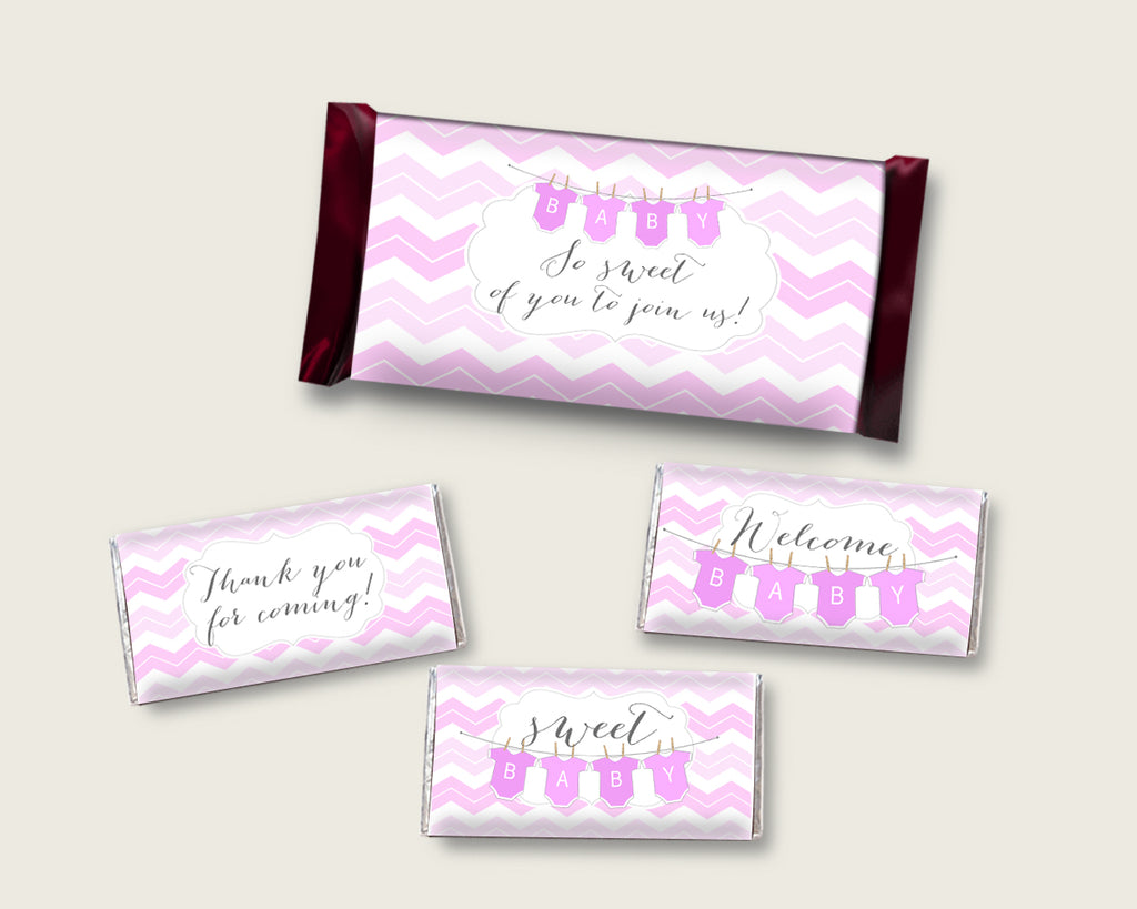Chevron Hershey Candy Bar Wrapper Printable, Pink White Chocolate Bar Wrappers, Girl Shower Candy Labels, Instant Download, Popular cp001
