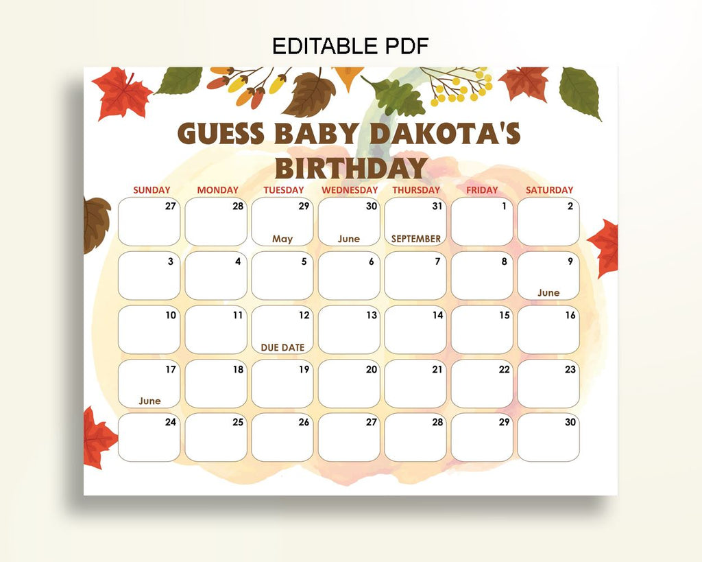 Birthday Predictions Baby Shower Birthday Predictions Autumn Baby Shower Birthday Predictions Baby Shower Pumpkin Birthday Predictions OALDE - Digital Product