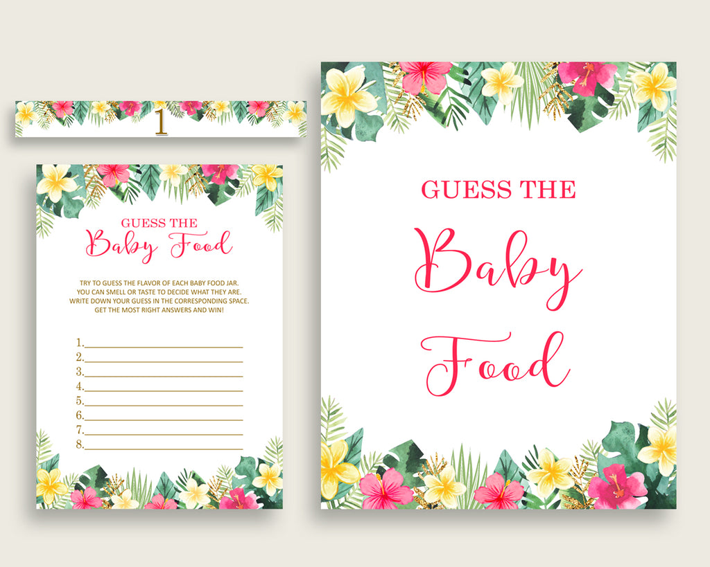 Pink Green Hawaiian Guess The Baby Food Game Printable, Girl Baby Shower Food Guessing Game Activity, Instant Download, Luau Aloha 955MG