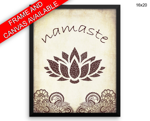 Namaste Print, Beautiful Wall Art with Frame and Canvas options available Spiritual Decor