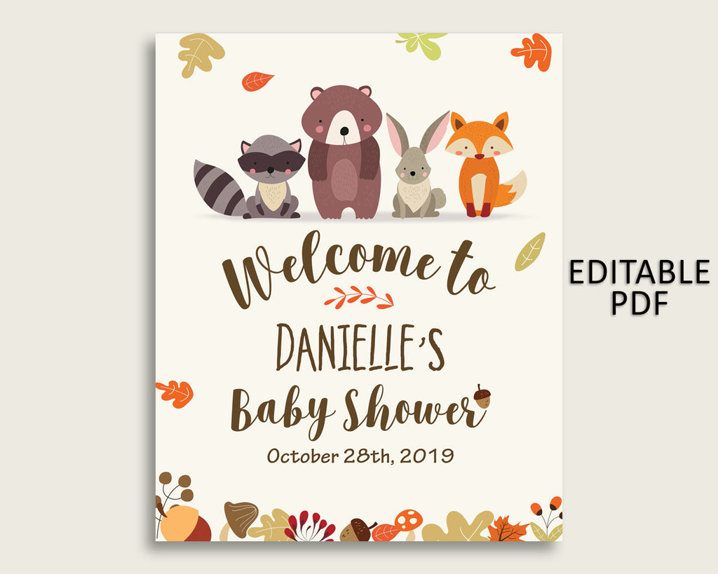 Brown Beige Woodland Baby Shower Welcome Sign Printable, Party Large Sign, Editable Welcome Sign Gender Neutral, Yard Sign, Instant w0001