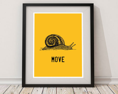 Wall Art Snail Digital Print Move Poster Art Snail Wall Art Print Move Office Art Move Office Print Snail Wall Decor Snail agile - Digital Download