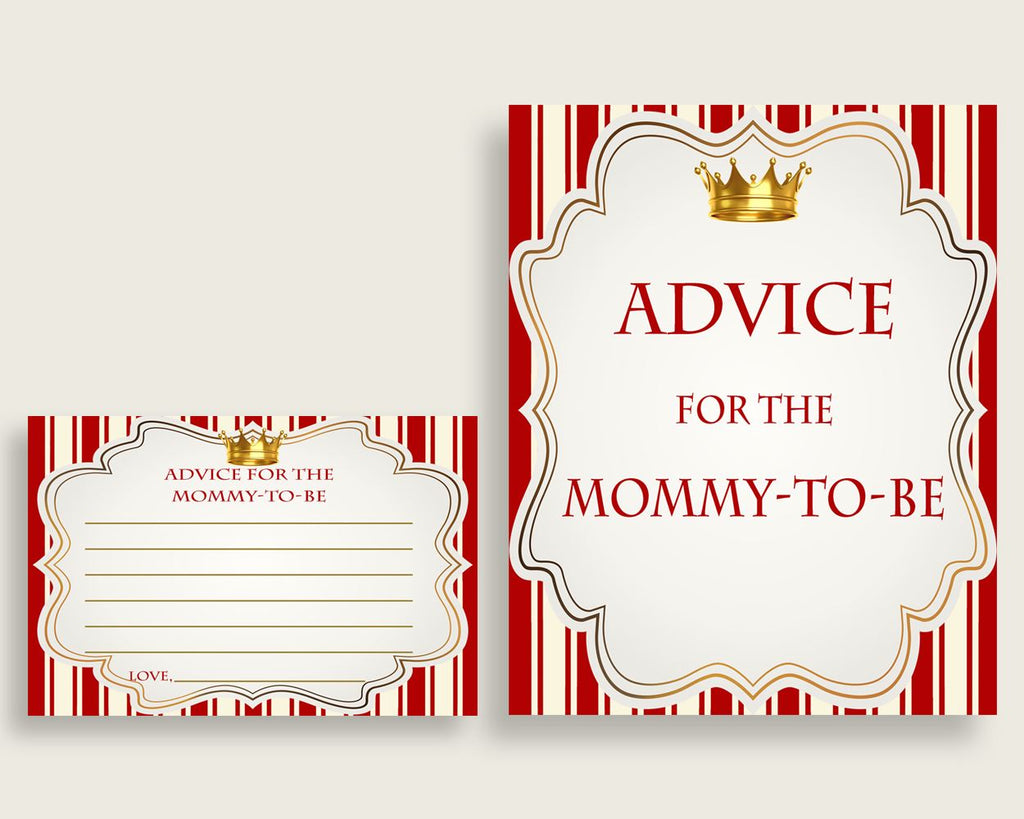 Prince Advice For Mommy To Be Cards & Sign, Printable Baby Shower Red Gold Advice For New Parents, Instant Download, Crown Cute Theme 92EDX