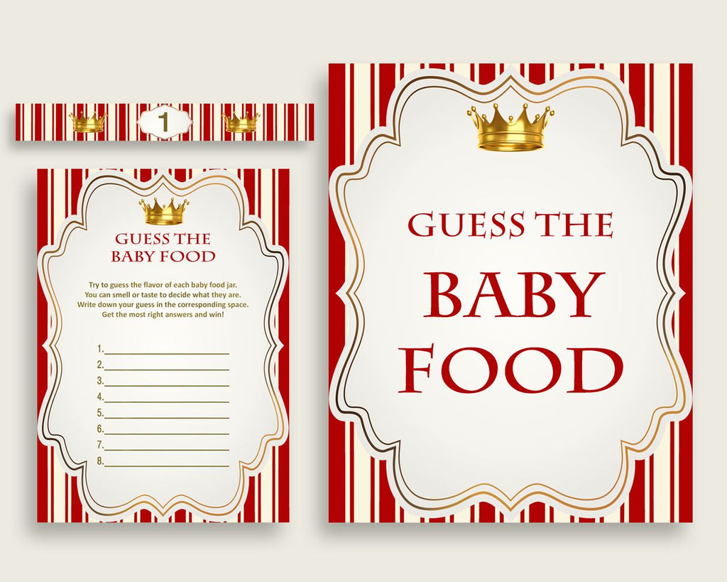 Red Gold Prince Guess The Baby Food Game Printable, Boy Baby Shower Food Guessing Game Activity, Instant Download, Little Prince 92EDX