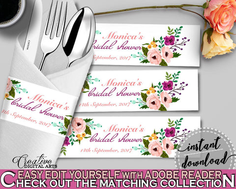 Napkin Ring Editable in Watercolor Flowers Bridal Shower White And Pink Theme, utensils decorations, party ideas, party décor - 9GOY4 - Digital Product