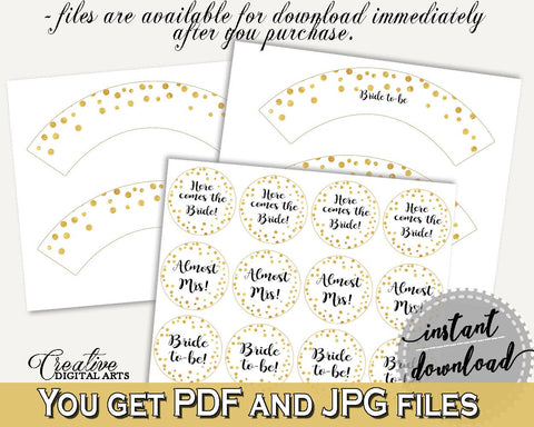 Cupcake Toppers And Wrappers Bridal Shower Cupcake Toppers And Wrappers Confetti Bridal Shower Cupcake Toppers And Wrappers Bridal CZXE5 - Digital Product