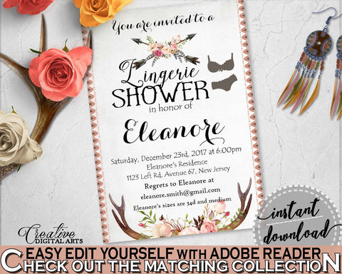 Antlers Flowers Bohemian Bridal Shower Lingerie Shower Invitation Editable in Gray and Pink, lingerie invite, prints, party décor - MVR4R - Digital Product