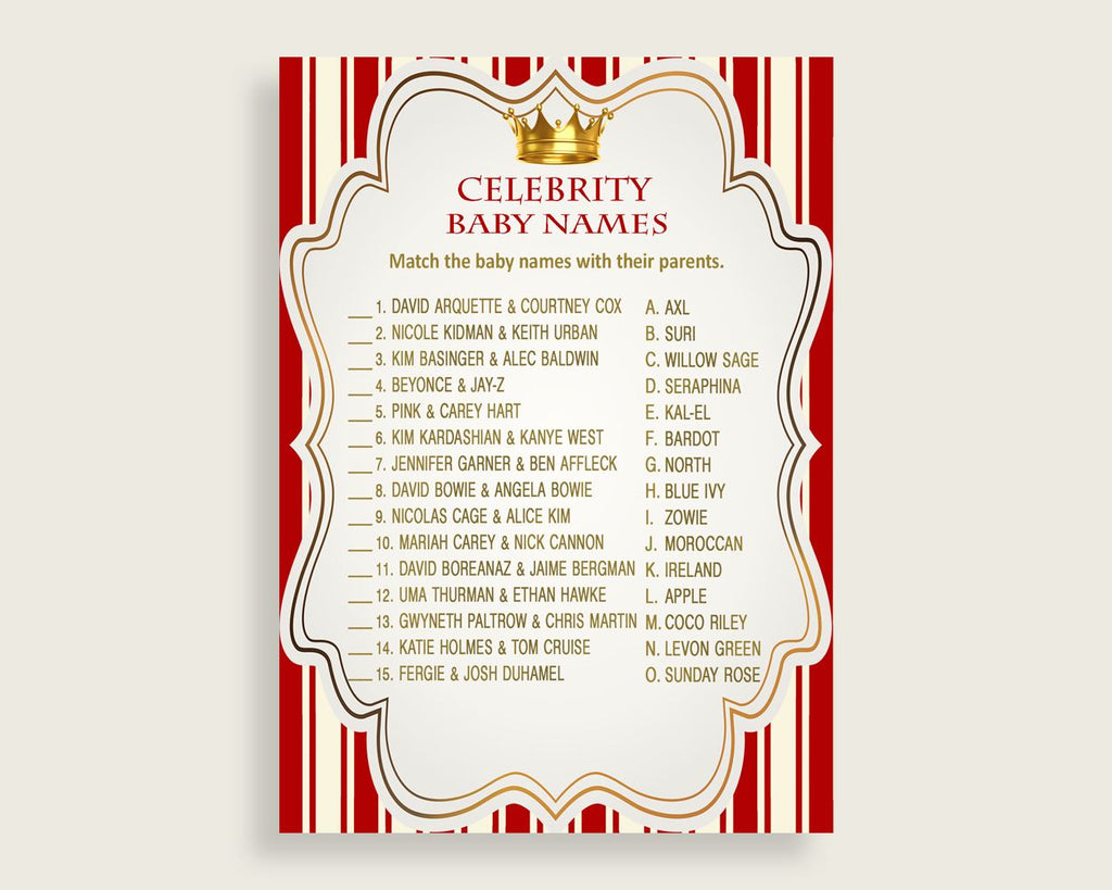 Red Gold Celebrity Baby Names, Prince Baby Shower Boy Name Game Printable, Celebrity Match Game, Famous Babies Game, Celebrity Parents 92EDX