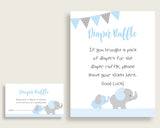 "Elephant Baby Shower Diaper Raffle Tickets Game, Boy Blue Grey Diaper Raffle Card Insert and Sign Printable, Instant Download, 3.5x2"", ebl02"