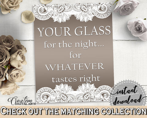Your Glass For The Night Sign in Traditional Lace Bridal Shower Brown And Silver Theme, wedding signage, party plan, party stuff - Z2DRE - Digital Product